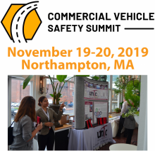 """Marketing image for the 2019 Commercial Vehicle Safety Summit with a theme of """"Best Practices for Industry and Law Enforcement Partnerships."""""""
